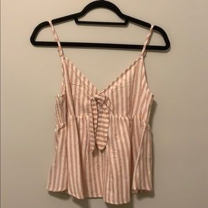 O'Neill Tie Front Beach Blouse - Pink/White